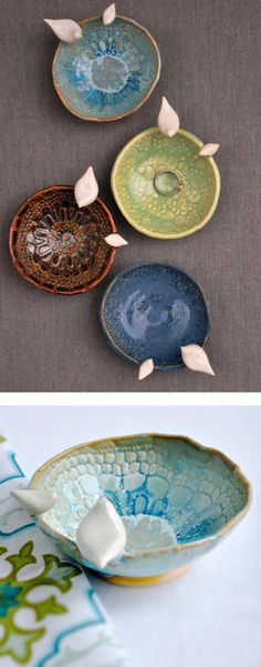 Mama and Baby Bird bowls in new glazes from Lee Wolfe Pottery