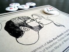 Engagement announcement cards with custom buttons