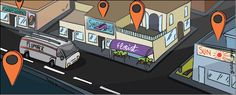 Cartoon of local businesses with orange markers above them