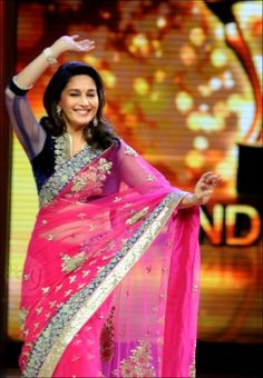 Madhuri Dixit In Pink Saree During Jhalak Finale
