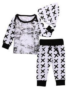 1e2e56b7eaaf Baby Set Newborn Infant Baby Boy Girl Clothes Geometric T-shirt  Tops+Striped Long Pants Legging Outfit Set Baby Winter Coat