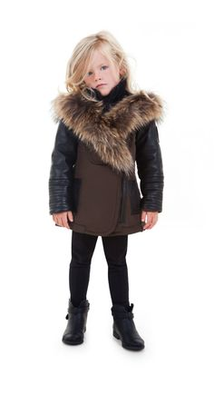 Girls Leather and Transitional Fabric Asymmetrical Parka - Rudsak Store