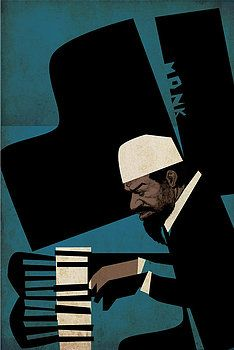 Visionary jazz composer and pianist Thelonious Monk, rendered in the hard angled, rough edged, off kilter style that he deserves. Jazz Club, Jazz Artists, Jazz Musicians, Norman Rockwell, Art Design, Layout Design, Graphic Design, Illustrations, Illustration Art
