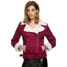 ACEVOG New Style Women Autumn Winter coat Fleece Jacket Fashion Long Sleeve Cool Faux Suede Leather Street-wear Outerwear 2016