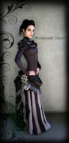 Steampunk its more than an aesthetic style, it's the longing for the past that never was. In Steampunk Girls we display professional pictures, and illustrations of Steampunk, Dieselpunk and other anachronistic 'punks. Some cosplay too! Steampunk Couture, Steampunk Mode, Viktorianischer Steampunk, Steampunk Accessoires, Steampunk Dress, Steampunk Wedding, Steampunk Fashion, Steampunk Makeup, Steampunk Halloween