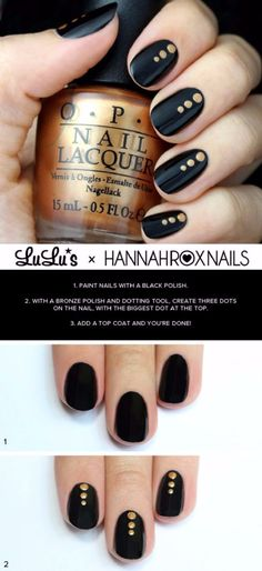 Quick Nail Art Ideas - Black And Gold Dotted Nail - Easy Step by Step Nail Designs With Tutorials and Instructions - Simple Photos Show You How To Get A Perfect Manicure at Home - Cool Beauty Tips and Tricks for Women and Teens Black Nail Art, Black Nails, Black Art, Black Polish, Trendy Nails, Cute Nails, Nagellack Design, Nagel Hacks, Nagel Gel