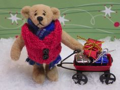 Christmas Artist Teddy Bear , Handcrafted Miniature Bear - Clarence  , Collectible Christmas Plush Soft Toy Doll , Christmas Decoration by ShersBears on Etsy