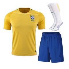 Brazil National Team 2016 Home Yellow Soccer Uniform (Shirt+Shorts+Socks)   e7545d044