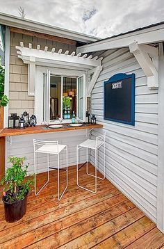 Home Remodeling Outdoor small micro outdoor bar attached to kitchen window patio deck - Summer is coming and it's time for BBQ's, parties, and cocktails. Decorate your home bar and patio to take advantage of your outdoor space to the fullest. Kitchen Window Bar, Kitchen Pass, Patio Kitchen, Kitchen Decor, Kitchen Ideas, Kitchen Windows, Bar Kitchen, Kitchen Cabinets, Outdoor Rooms