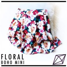 Floral BOHO Mini Skater Skirt   Qurio by Aggie 🌹🌹🌹Treat yourself to roses with this gorgeous rich, bold print! Made from comfy stretch fabric, this circle skirt is a playful staple for Spring! Size small. See my closet for bundle discounts! All reasonable offers considered 🌹🌹🌹 Skirts Mini