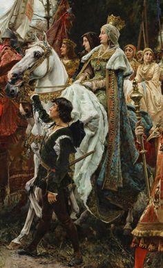 tiny-librarian: Detail of The Capitulation of Granada, by Francisco Pradilla Ortiz, showing Isabel I of Castile on horseback. Medieval Art, Renaissance Art, Armadura Medieval, Templer, Illustration Art, Illustrations, Pre Raphaelite, Traditional Paintings, Classical Art