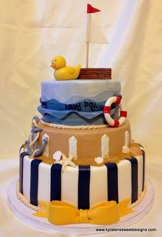 Nautical Baby Shower Decorations   Nautical Baby Shower Cake   Party Ideas