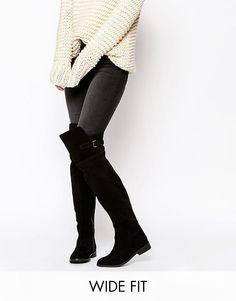 ASOS - KOWTOW - Stivali sopra al ginocchio in pelle a pianta larga