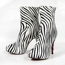 Christian Louboutin, black and white boots