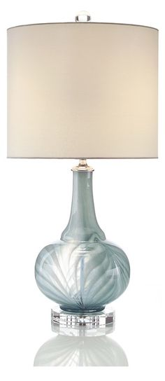 Table Lamps, Luxury Designer Silver Blue Art Glass Lamp, so beautiful, one of over 3,000 limited production interior design inspirations inc, furniture, lighting, mirrors, tabletop accents and gift ideas to enjoy repin and share at InStyle Decor Beverly Hills Hollywood Luxury Home Decor enjoy & happy pinning