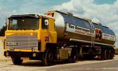 Scania LB 111 met tankoplegger van Van Amerongen in Barneveld Road Transport, Volvo, Transportation, Vans, 1, Vehicles, History, School, Classic