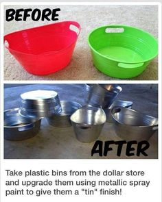 Containers from Dollar Tree spray painted for pantry organization