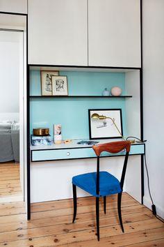 Sådan bruger jeg farver: Sarte farver - Boligliv Home Office Space, Office Desk, Bruges, Scandinavian Interior, Architecture, Corner Desk, Interior Design, Bor, Elks