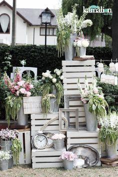 www.kamalion.com.mx - Decoración / Vintage / Rustic / Gray & Pink / Gris & Rosa / Placing Cards / Decor / Flores / Flower.