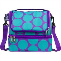 New to Wildkin the Big Dots aqua double decker lunch bag. Perfect for the student or camper in your home! Free shipping e.g $27.95 http://www.sensoryedge.com/big-dots-aqua-double-decker-lunch-bag.html