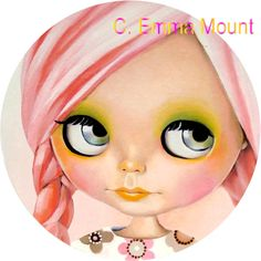 blythe doll print  Remy  pink hair pastel by EmmaMount on Etsy