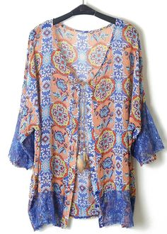 Purple Long Sleeve Contrast Lace Floral Chiffon Blouse - Sheinside.com