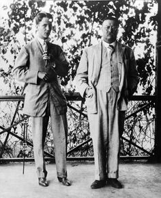 Theodore Roosevelt and his son Kermit on the porch of the Roosevelt Home, Sagamore Hill in 1910.