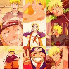 Naruto Uzumaki. I love the one in the bottom left where he's like hugging one of his clones. :)