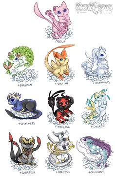 macemonstah:  Mew + other Legendary variations! I was going to stop at Kabutops but mews happened oops. Nidoran Female / Kabutops