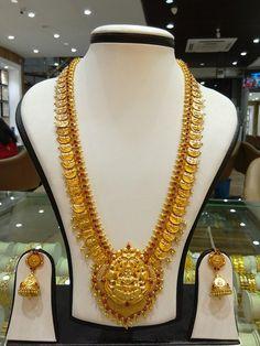 Gold Long Kasumalai necklace designs, Latest model gold coin necklace designs, Gold Temple Long Necklace Sets