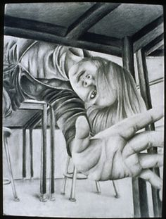 Foreshortening is a distortion of shape where an object seems smaller due to perspective. Here