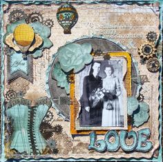 Amy Voorthuis created this beautiful layout using the new Somewhere in Time collection. Love all the gorgeous elements. Heritage Scrapbook Pages, Vintage Scrapbook, Wedding Scrapbook, Scrapbook Journal, Scrapbook Cards, Steampunk Cards, Smash Book Pages, Somewhere In Time, Card Maker