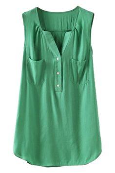 V ネック ポケット非対称薄いグリーン ベスト