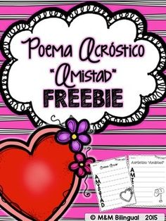 "Acrostic+Poem+in+Spanish+for+Valentine's!!!+""Amistad""+Poema+acrstico.~~If+you+enjoy+this+FREEBIE,+please+leave+a+positive+note+below~~Check+out+more+SPANISH+Valentine's+products+Finish+the+Story+-+February+Edition+SPANISHValentine's+Day+Writing+Center+SPANISHValentine's+Day+Sentence+Sort+SPANISHNeed+SPANISH+High+Frequency+Word+Work?"