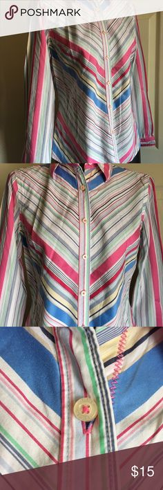 Tommy Hilfiger Women's Button Up Shirt MEDIUM Size medium. Long sleeve. All buttons are in tact.  Small area where stitching is a tad bit loose on the side. Shown in photos. Tommy Hilfiger Tops Button Down Shirts