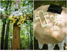 Christian wedding ideas: cross altar and unity cross ceremony.