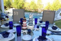 Lighthouse and starfish centerpiece | Nautical wedding | Beach wedding - DIY