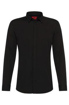 Camicia Slim-Fit con catena in metallo a maglia sottile sul colletto: 'Ems'