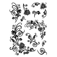 Crafty Individuals CI-235 - 'Floral Flourishes and Swirls' Art Rubber Stamps, 90mm x 128mm - Crafty Individuals from Crafty Individuals UK
