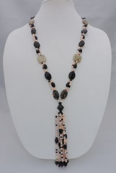 Glass Beaded Peach and Black Natural Stone tassel necklace