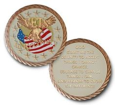 "Alcoholics Anonymous - Narcotics Anonymous ""Vets in Recovery"" Specialty Recovery Coin Medallion This Alcoholics Anonymous - Narcotics Anonymous ""Vets in Recovery"" Specialty Recovery Coin Medallion all have the Serenity Prayer on the reverse side. ""God grant me the serenity to accept things I cannot change, courage to change things I can, and wisdom to know the difference."""