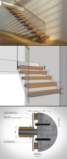 3D Model & manufacturing drawings available for purchase. To learn more, visit homedesigntutorials.com #design #construction #architecture #floating #stairs #staircase #cantilevered #drawing #detail Cladding Panels, Timber Cladding, Cantilevered Stairs Detail, Foyers, Dream Home Design, House Design, Oak Handrail, Model House Plan, Stair Detail