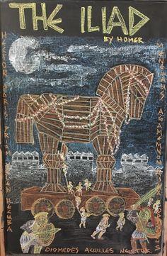 5th grade Ancient Greece, Waldorf chalk art, Trojan horse Ancient Egyptian Food, Ancient Greece, Troy Horse, Greece Art, Greek Pantheon, Chalkboard Drawings, Greek Pottery, Greek History, Chalk Art