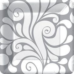 Fiore Silver Damask 7 inch Square Plates
