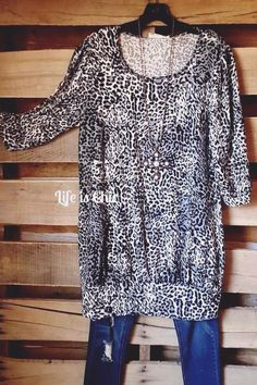 "Soft Imported 100% Polyester Length 33/34"" Scarf Matching -  leopard print knit tunic dress with 3Q sleeves and a matching scarf!  Timeless"