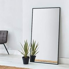 This Stunning Silver Rectangular mirror gives a modern look to your room creating an environment that feels much more spacious and adds a premium touch. Big Mirror In Bedroom, Giant Mirror, Hallway Mirror, Living Room Mirrors, Ikea Mirror, Stand Up Mirror, Long Mirror, Big Mirrors, Salon Mirrors