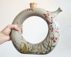 Mod Earthenware Wine Decanter   Fall Berries by yevgenia on Etsy, $300.00