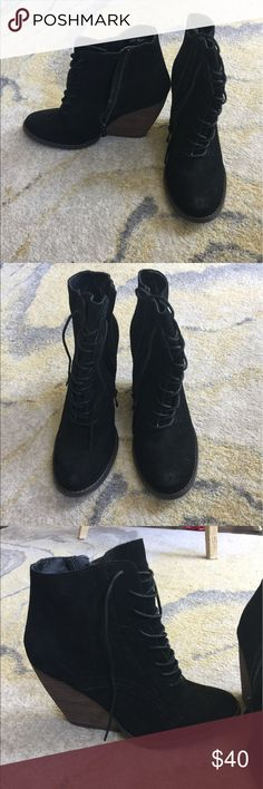 Black Suede Lace Up Wedge Booties, size 9 Rock these Very Volatile LA booties with jeans or leggings! Wedge style makes for comfortable wear! Suede is in great shape and very forgiving. Shoes Heeled Boots