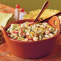 Ready-to-Serve Tailgating Recipes | Confetti Pasta Salad | SouthernLiving.com