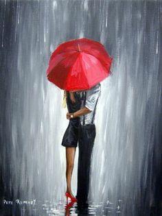PETE RUMNEY FINE ART BUY ORIGINAL PAINTING RED UMBRELLA LOVE ROMANCE NIGHT OUT